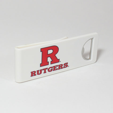 The Rutgers Speed Clip is a dual-function, slide-on bottle opener that can be worn on pockets, shirt sleeves, baseball caps, belt loops and more for quick, convenient access wherever you are. Speed Clips can also be used as a chip bag clip, document clip or money clip.