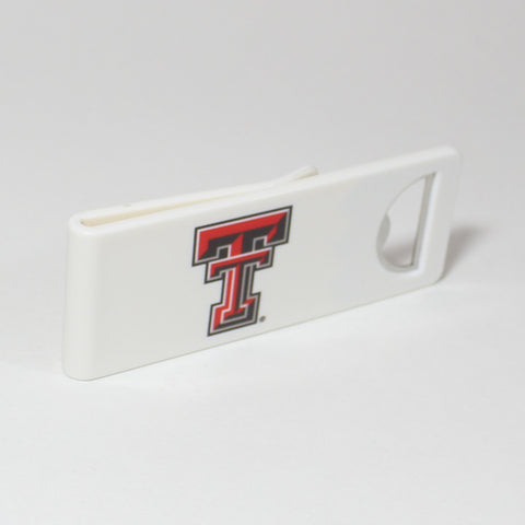 The Texas Tech Speed Clip is a dual-function, slide-on bottle opener that can be worn on pockets, shirt sleeves, baseball caps, belt loops and more for quick, convenient access wherever you are. Speed Clips can also be used as a chip bag clip, document clip or money clip.
