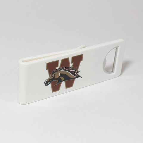 The Western Michigan Speed Clip is a dual-function, slide-on bottle opener that can be worn on pockets, shirt sleeves, baseball caps, belt loops and more for quick, convenient access wherever you are. Speed Clips can also be used as a chip bag clip, document clip or money clip.