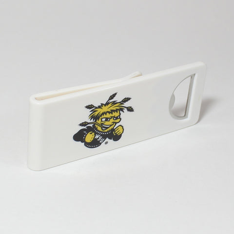 The Wichita State Speed Clip is a dual-function, slide-on bottle opener that can be worn on pockets, shirt sleeves, baseball caps, belt loops and more for quick, convenient access wherever you are. Speed Clips can also be used as a chip bag clip, document clip or money clip.
