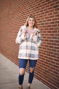 Carmen Plaid Coat - Glacier