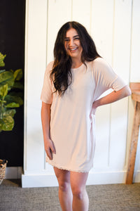 Girlfriend Rib Dress - Rose Quartz