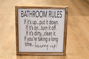 Bathroom Rules Wood Sign
