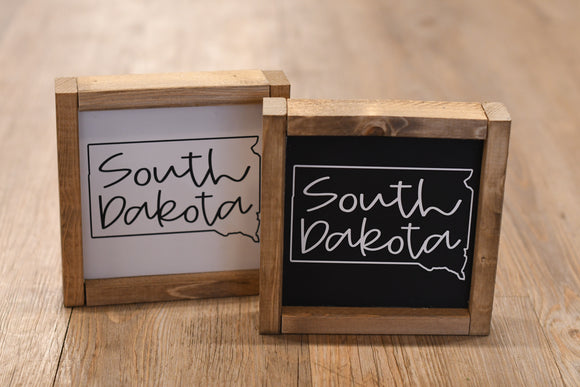 South Dakota Outline Wood Sign