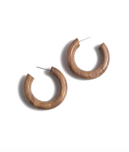 Greta Wood Hoop Earrings