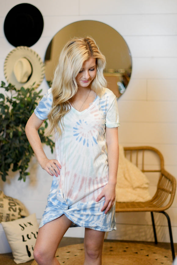 Tie Dye Side Knot Dress - Desert White