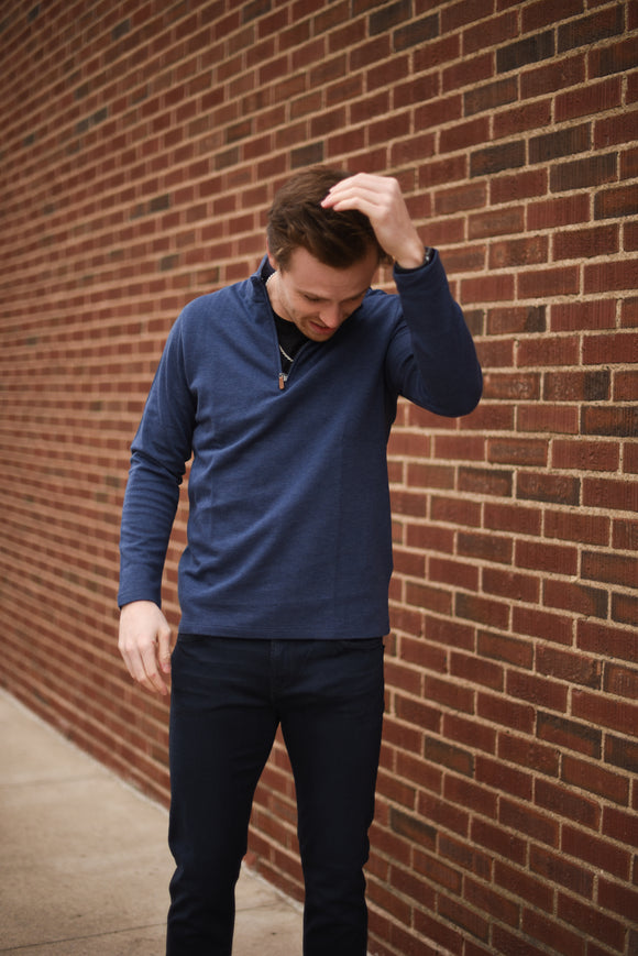 Stanton Pullover - Navy Heathered