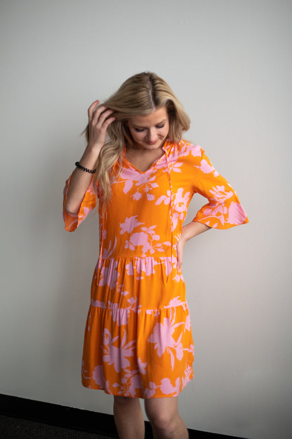 Tracie Tiered Orange Floral Dress