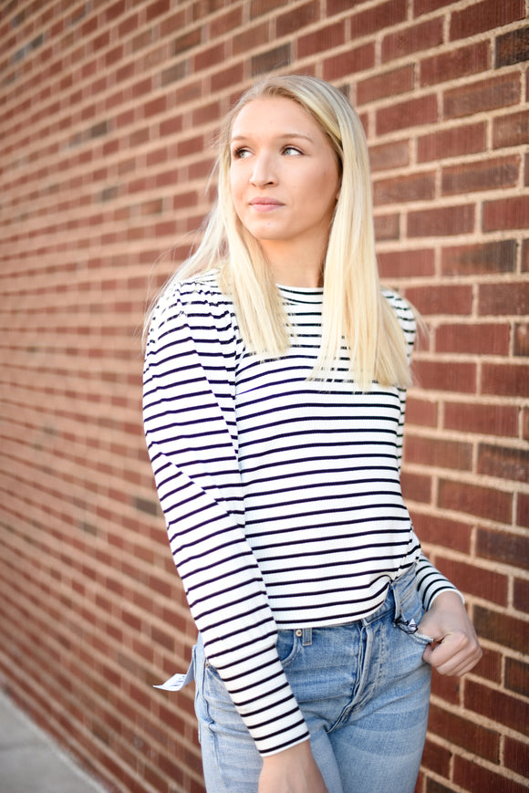 Clemente Puff Sleeve Tee - Striped Vanilla Ice