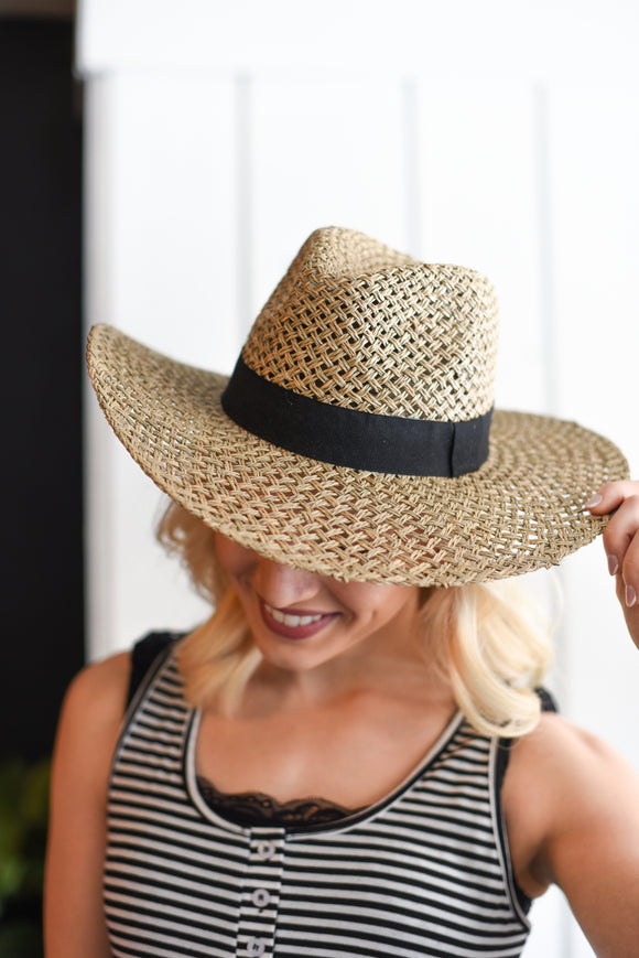 Bao Natural Straw Hat with Trim