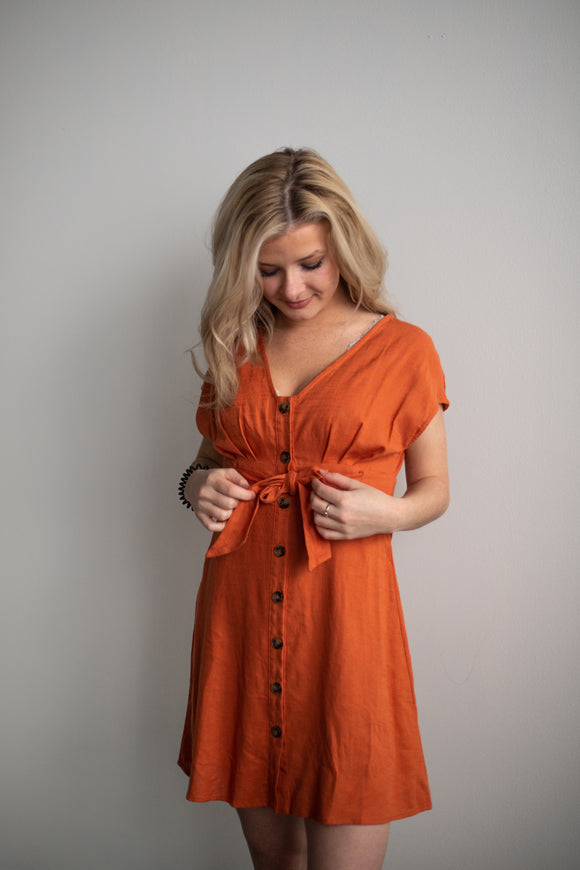 Rebecca Button Dress - Rust