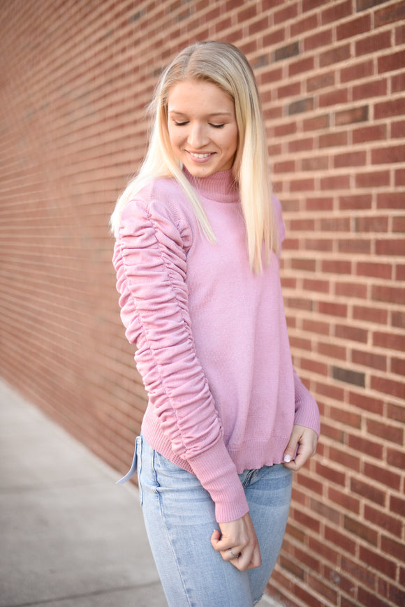 Dustie Pink Ruffle Sleeve Sweater
