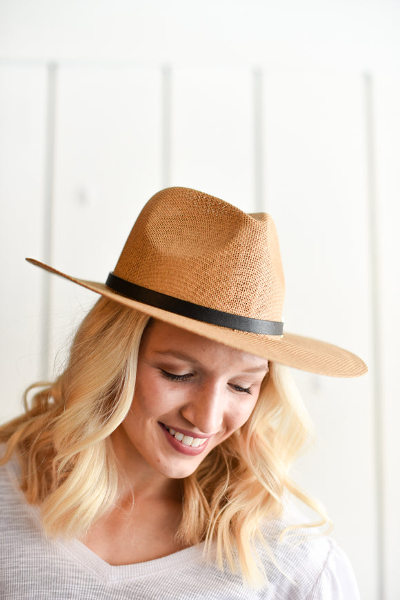 Zimba Safari straw hat with leatherette buckle trim- NATURAL