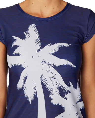 Swim Tee Palm Tree Navy - Sale