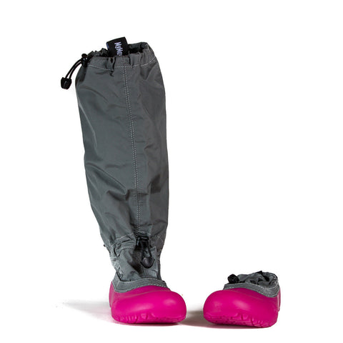 MyMayu outdoor rainboots for kids.  Explorer - Gray with Pink Soles