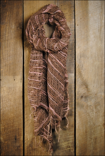 Handwoven Open Weave Cotton Scarf - Antler