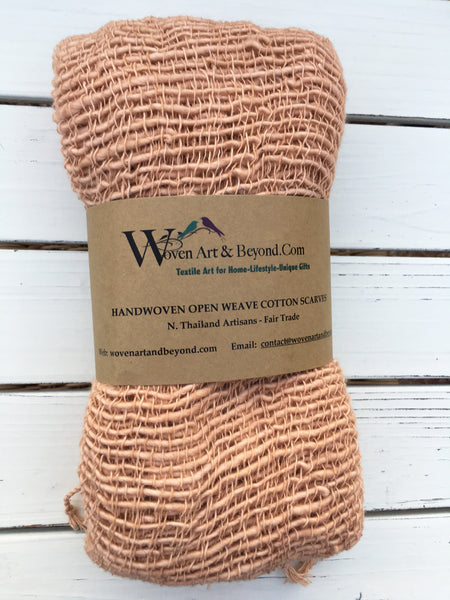 Handwoven Open Weave Cotton Scarf - Bisque