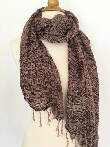 Handwoven Open Weave Cotton Scarf - Brown Multi