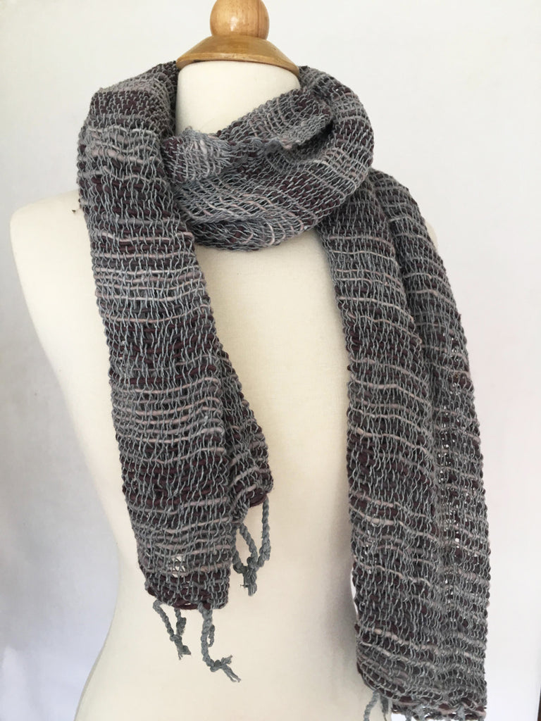 Handwoven Open Weave Cotton Scarf - Slate Blue Brown Multi