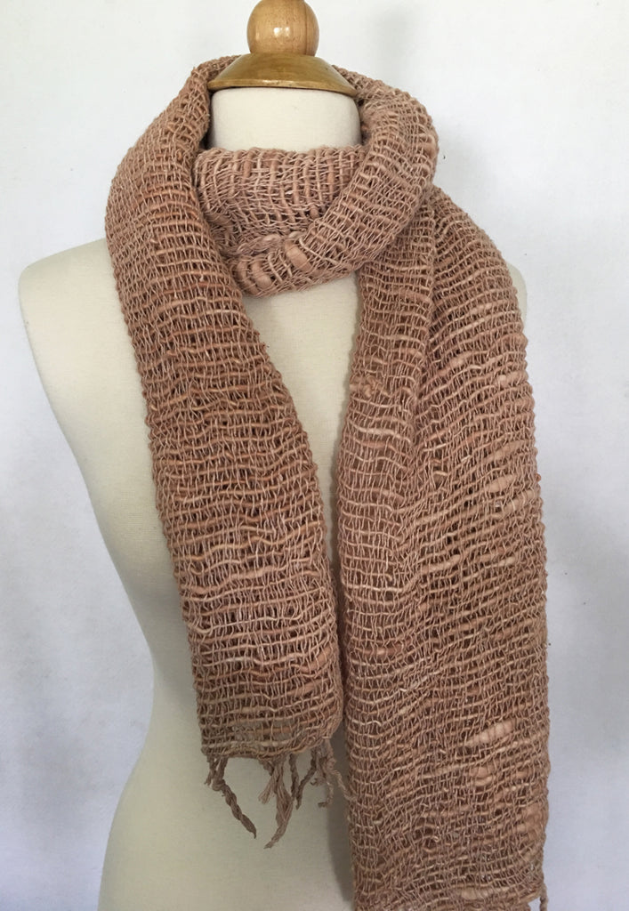 Handwoven Open Weave Cotton Scarf - Tan