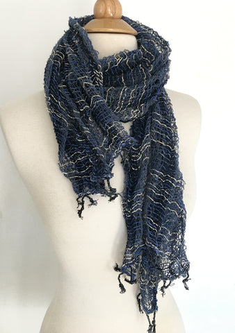 Handwoven Open Weave Cotton Scarf - Multicolor Indigo/White/Black