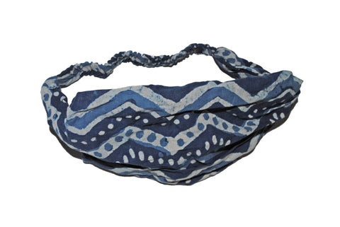 Cotton Block Print Natural Dye Indigo Headband IX