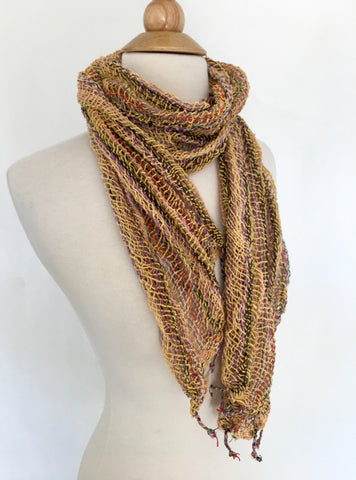 Handwoven Open Weave Cotton Scarf - Multicolor Gold