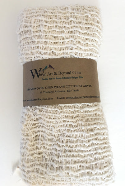 Handwoven Open Weave Cotton Scarf - Snow White