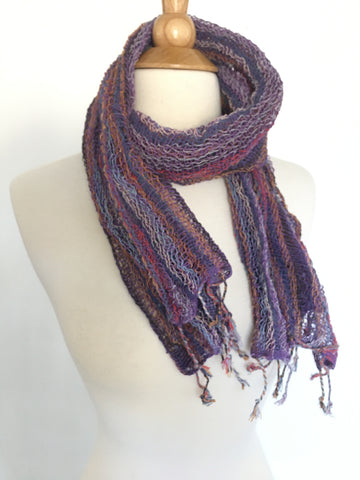 Handwoven Open Weave Cotton Scarf - Multicolor Purple