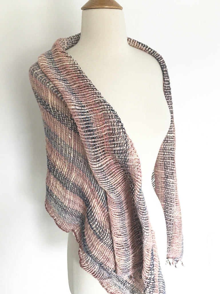 Handwoven Open Weave Cotton Scarf -Navy/Grey/Burlywood Multicolor