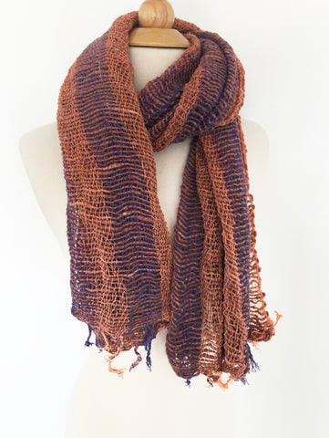 Handwoven Open Weave Cotton Scarf - Multi Copper/Purple