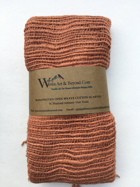 Handwoven Open Weave Cotton Scarf - Peach Bloom