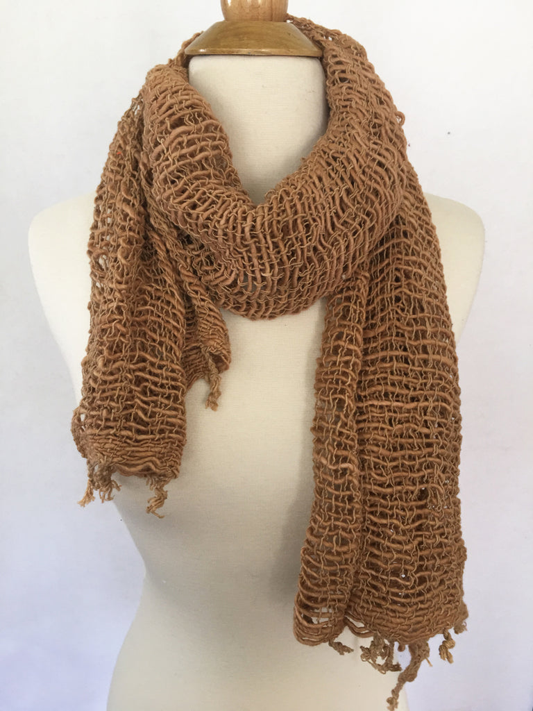 Handwoven Open Weave Cotton Scarf - Toast
