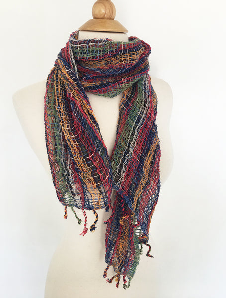 Handwoven Open Weave Cotton Scarf - Multicolor Red/Navy/Orange/Green