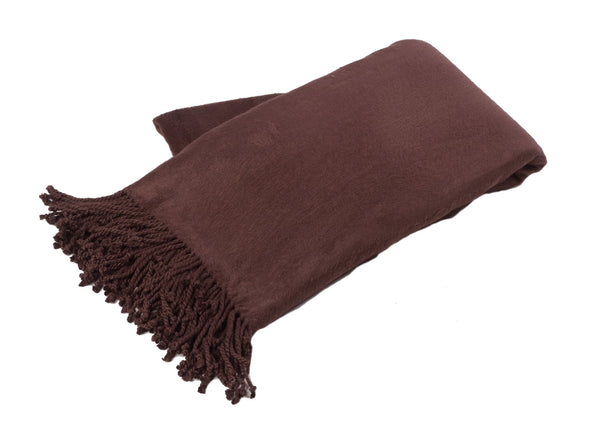 Chocolate Haute Bamboo/Cotton Throw w/Fringe -   - 2