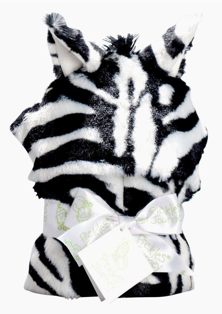 Zebra Faux Fur Baby Hooded Wrap Blanket -   - 1