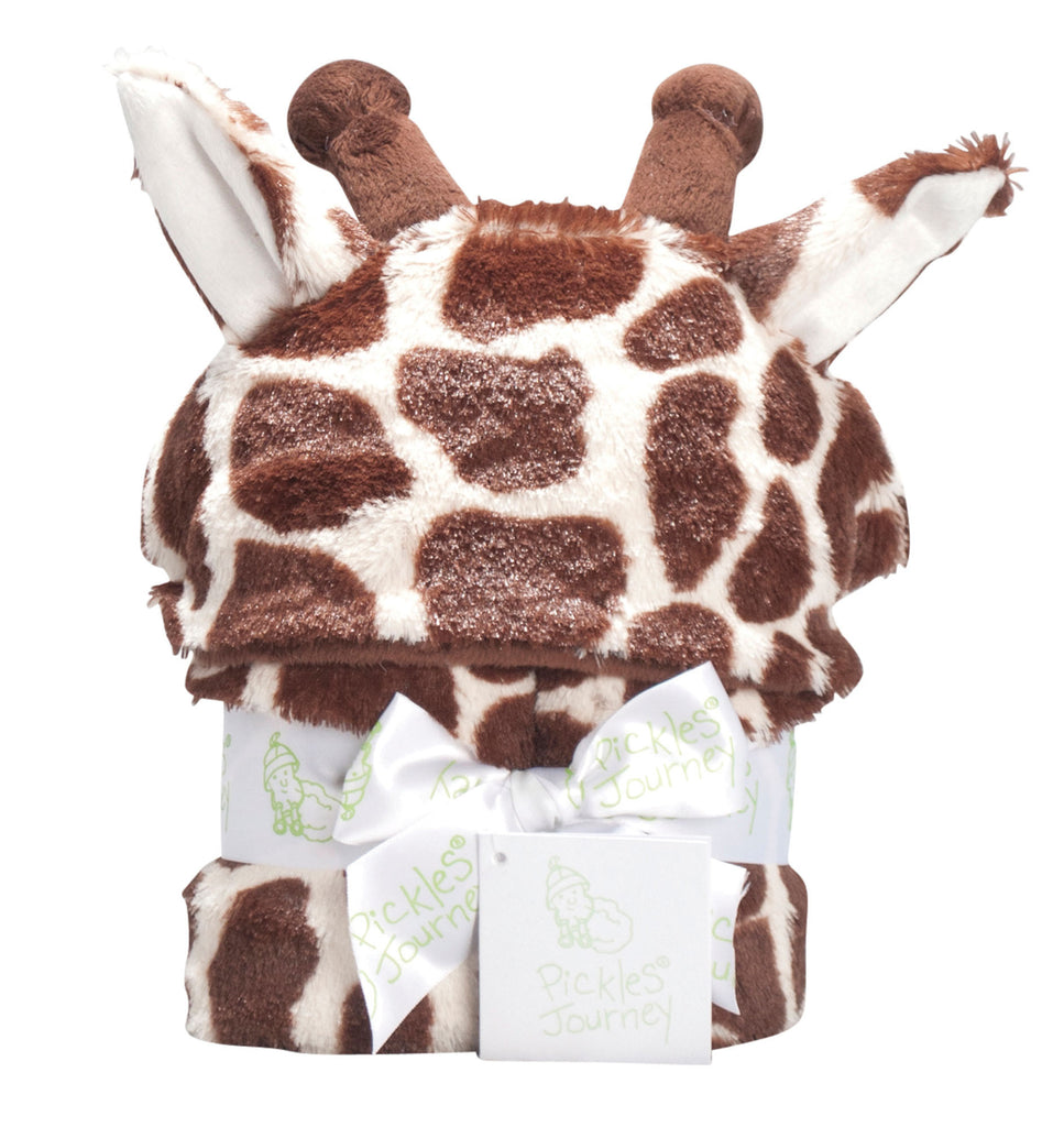 Giraffe Faux Fur Baby Hooded Blanket -   - 1