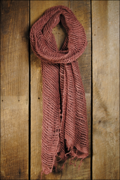 Handwoven Open Weave Cotton Scarf - Burlwood II