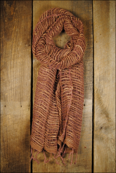 Handwoven Open Weave Cotton Scarf - Cider