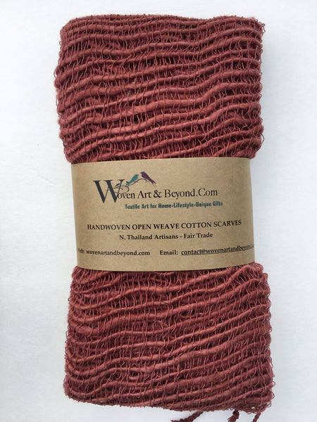 Handwoven Open Weave Cotton Scarf - Mahogany