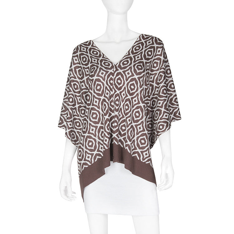 Bamboo The Bridget Chocolate/White Scarf-Shawl-Cardigan 3 in 1 by Papillon -   - 1