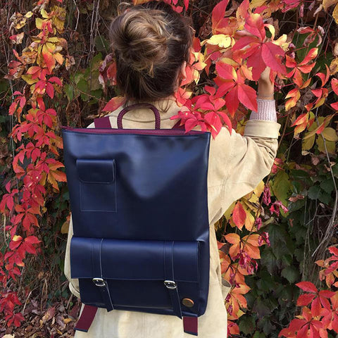 IF Backpack Navy|Vegan Leather - Italy