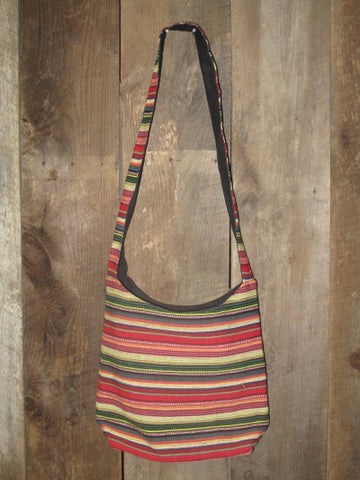 Striped Cotton Canvas Bag - Multicolor Red