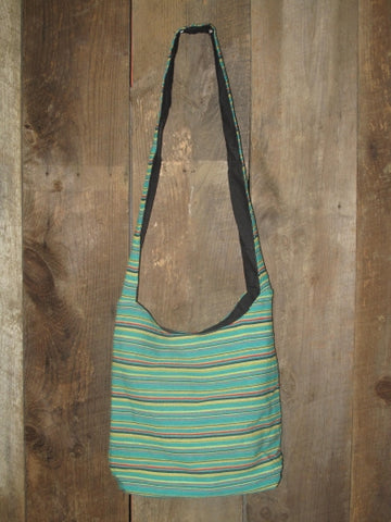 Striped Cotton Canvas Bag - Multicolor Teal