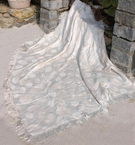 Seashells Natural/Bisque Rayon Throw Blanket