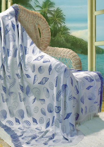 Seashells Natural/Periwinkle Rayon Throw Blanket