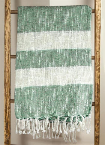 Cotton Stripe Green Woven Throw