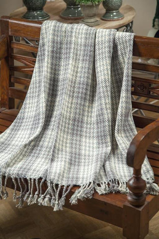 Grey Houndstooth Cotton Woven Throw Blanket