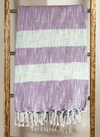 Cotton Stripe Lavender Woven Throw