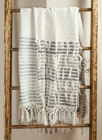 On The Fringe Cotton Embroidered Throw Blanket